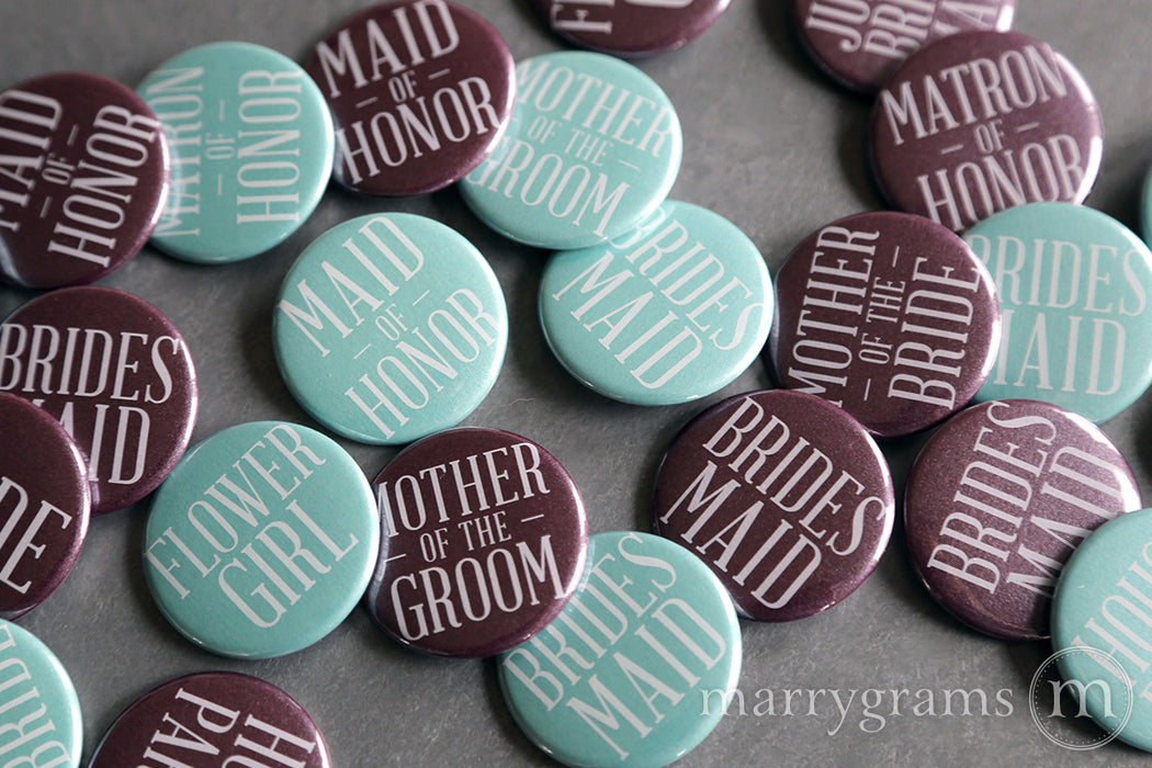 Bridal Party Buttons Plum and Lagoon - bride, mother of the bride, mother of the groom, bridesmaid, maid of honor, matron of honor, junior bridesmaid, flower girl