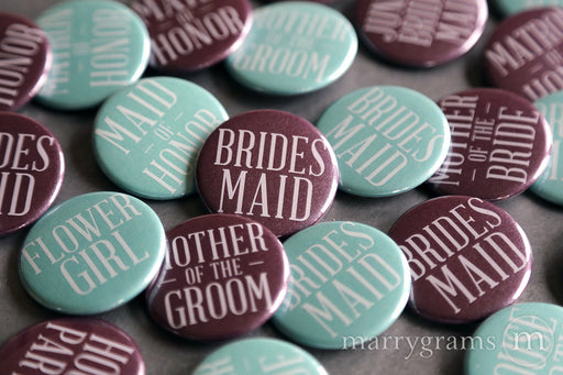 Bridal Party Buttons Plum & Lagoon