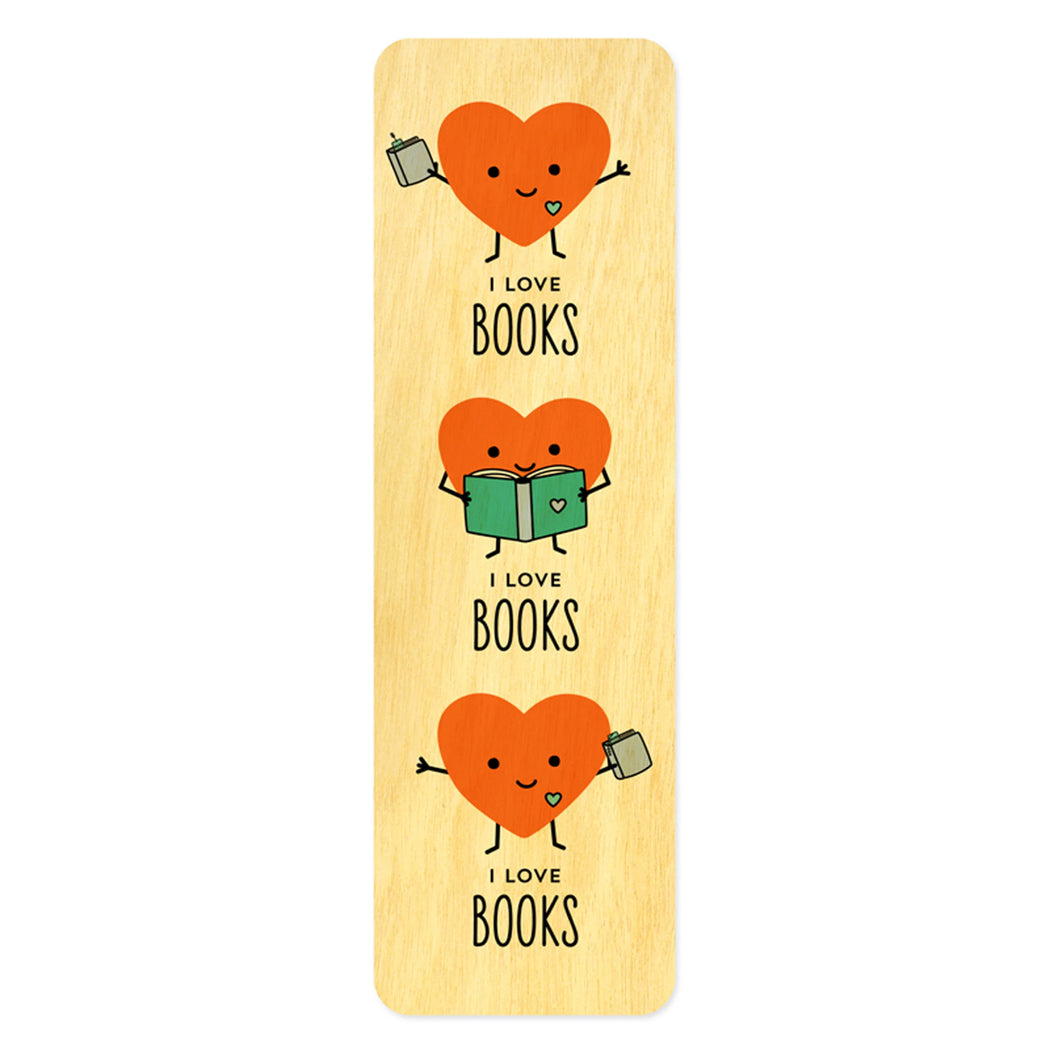 Wood Bookmark I love books reading heart