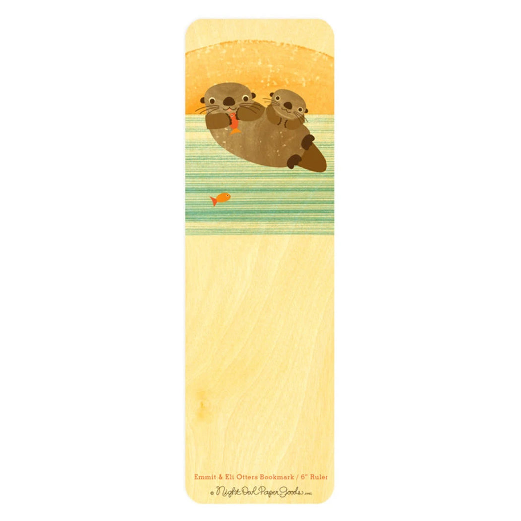 Wood Bookmark otters