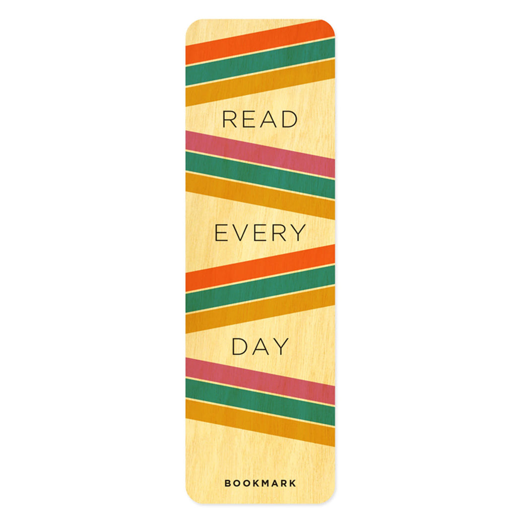 Wood Bookmark Read Every Day Stripes