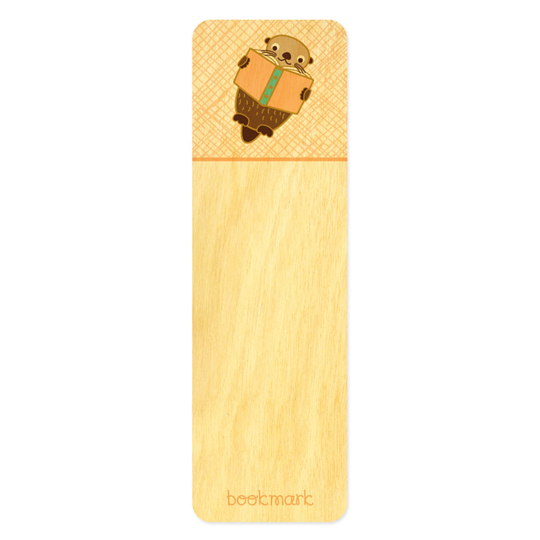 Wood Bookmark reading otter