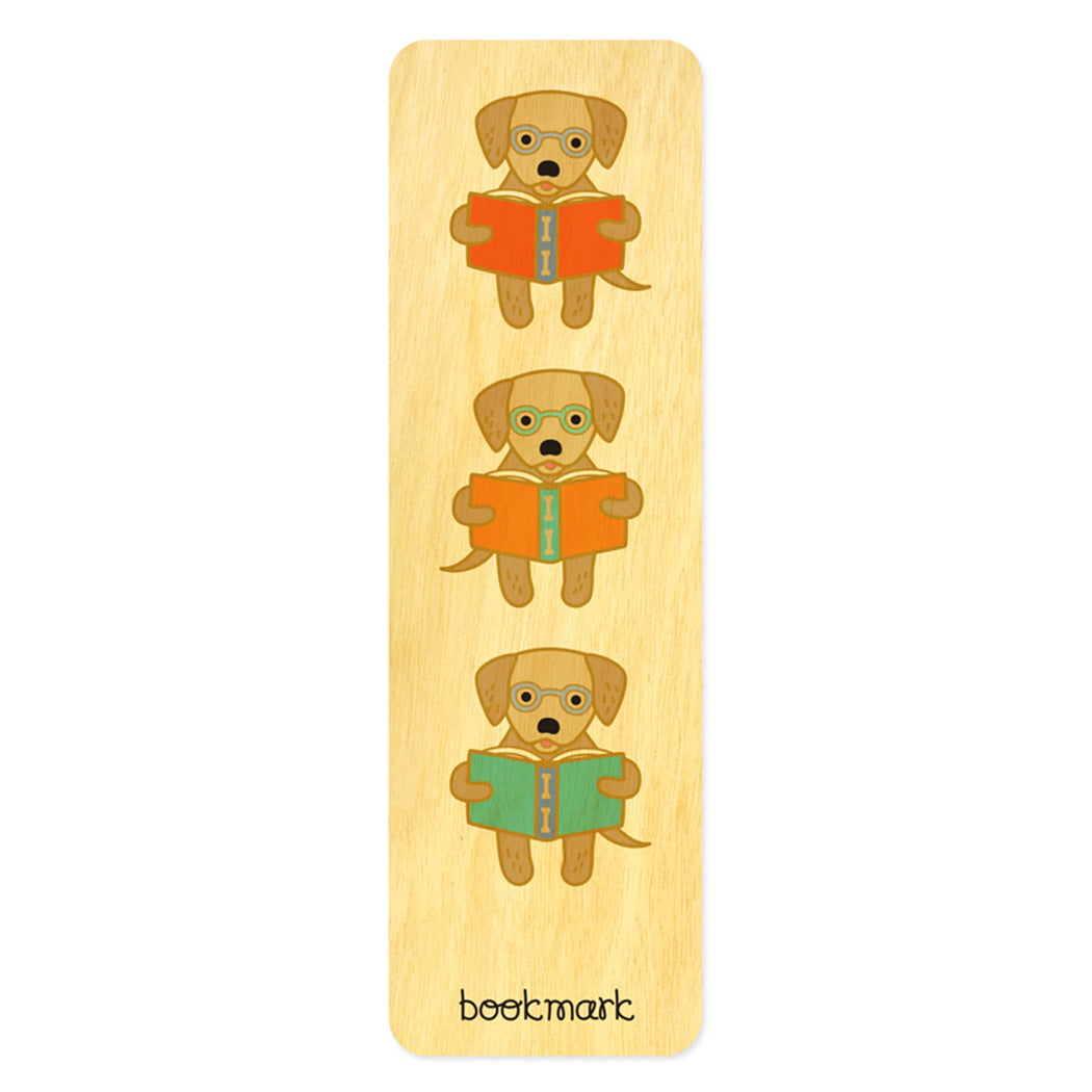 Wood Bookmark reading dog