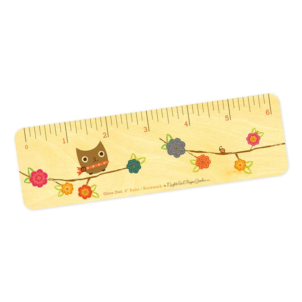 Wood Bookmark ruler owl flowers