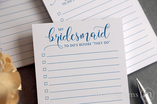 My Bridesmaid To-Do's Notepad