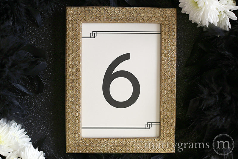 Numerical Wedding Table Number Signs Deco Style