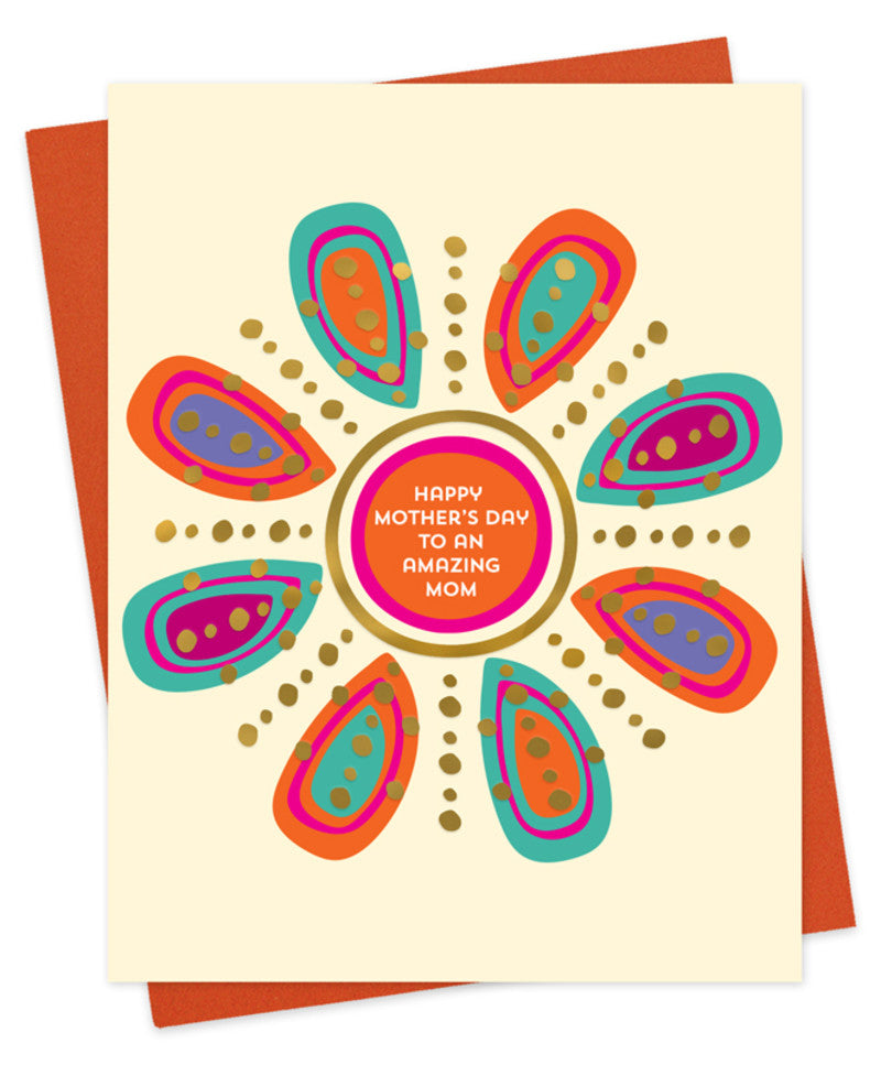 Amazing Mom Flower Mother's Day Letterpress Greeting Card