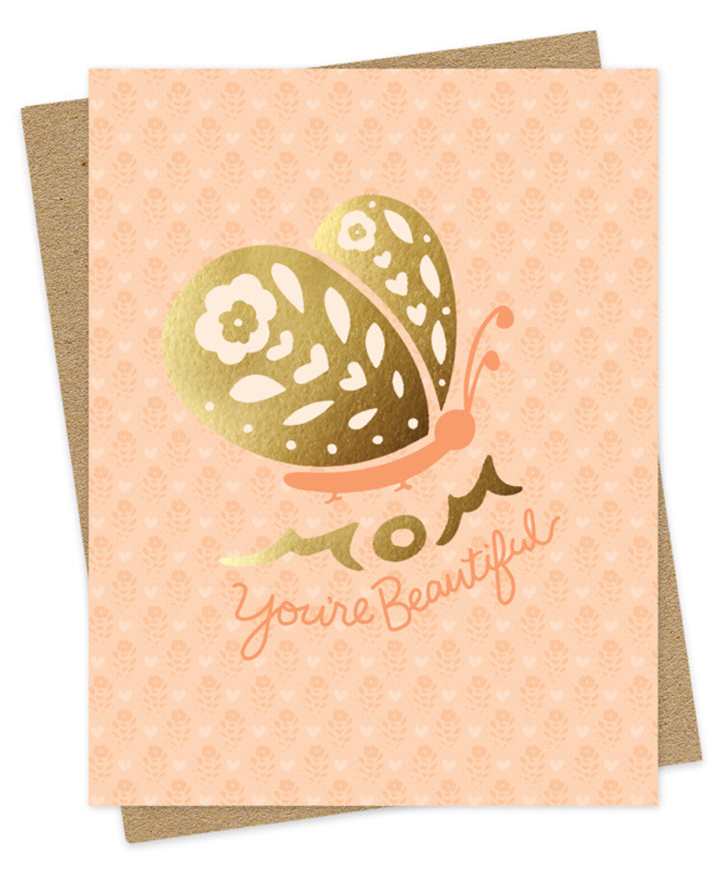 gold butterfly mom you're beautiful card