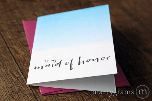 Ombre Colored To My Bridal Party Wedding Day Card