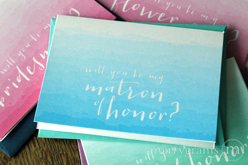 Ombre Colored Will You Be My Bridesmaid Invitation Cards
