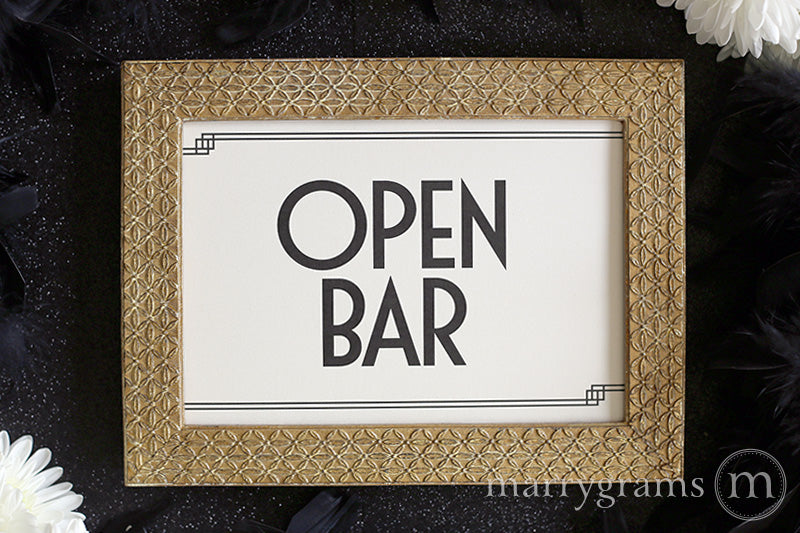 Open Bar Wedding Reception Sign Deco Style