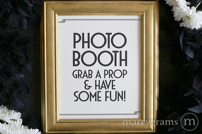 Photo Booth Wedding Reception Sign Deco Style