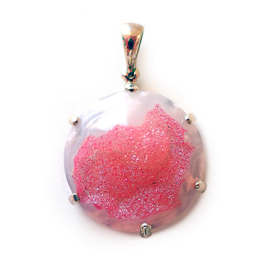 Pink Quartz Druzy Pendant - Medium