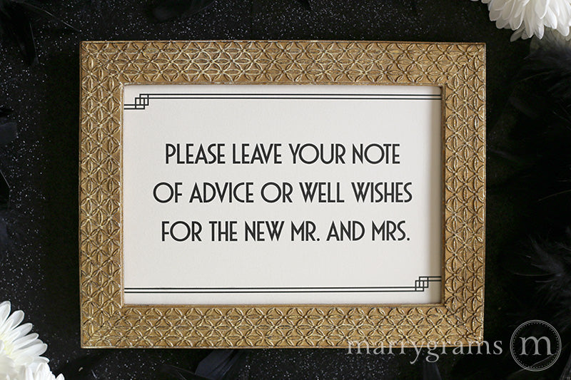 Leave a Note of Advice & Well Wishes Sign Deco Style