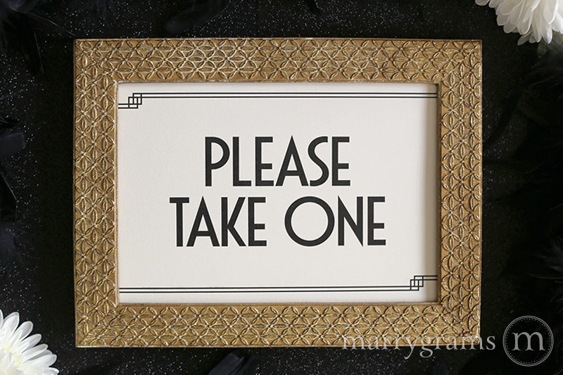 Please Take One Wedding Sign Deco Style