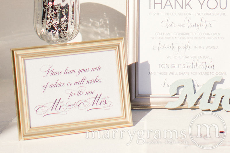 Leave a Note of Advice & Well Wishes Sign Calligraphy Style