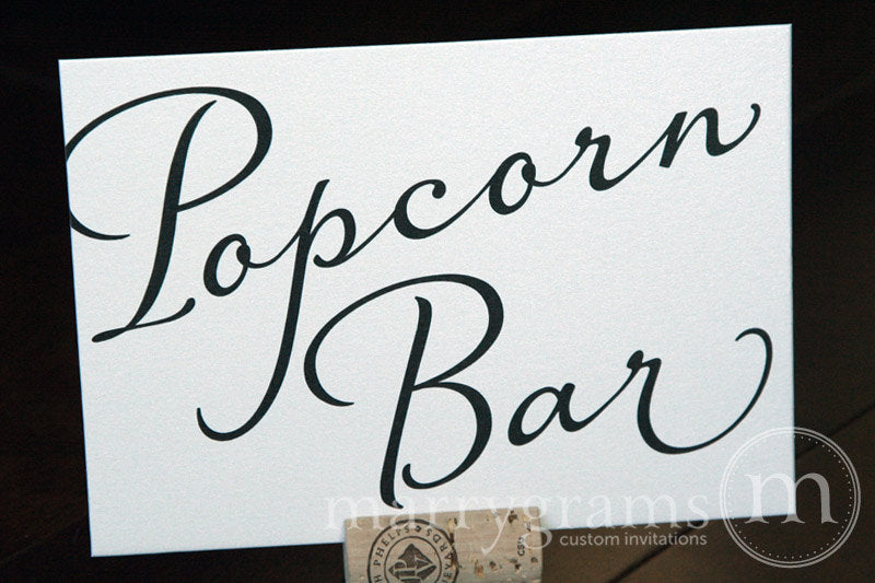 Popcorn Bar Wedding Reception Sign Diagonal Style