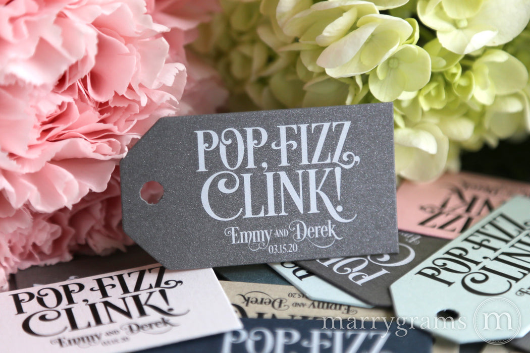 Pop, Fizz, Clink Favor Tags Enchanting Style