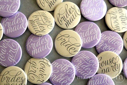 Bridal Party Buttons Script Lilac and Champagne - bride, mother of the bride, mother of the groom, bridesmaid, maid of honor, matron of honor, junior bridesmaid, flower girl