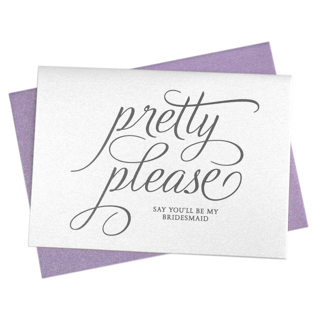 Pretty Please Be My Bridesmaid Invitation Cards