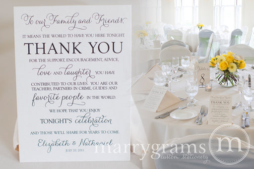 Custom Reception Thank You Card Thin Style