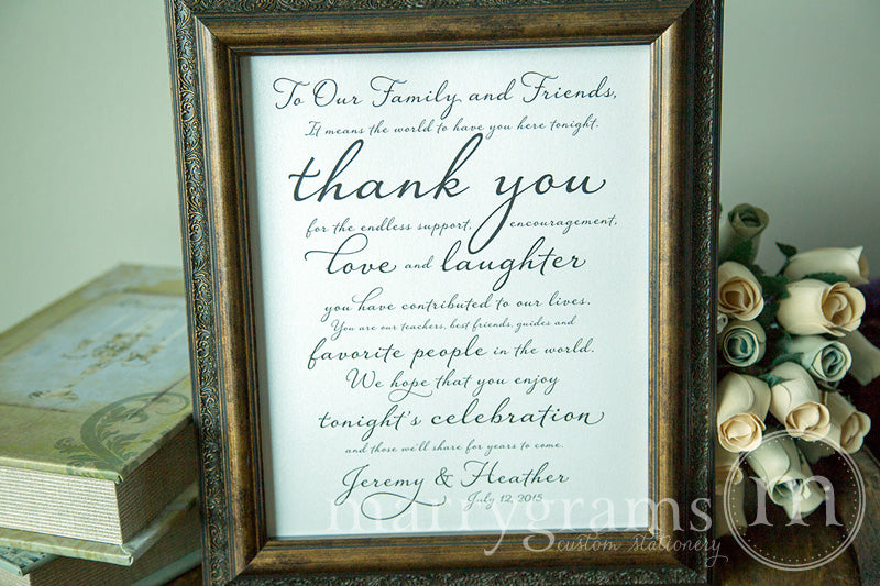 To Our Family and Friends Custom Thank You Sign Diagonal Style