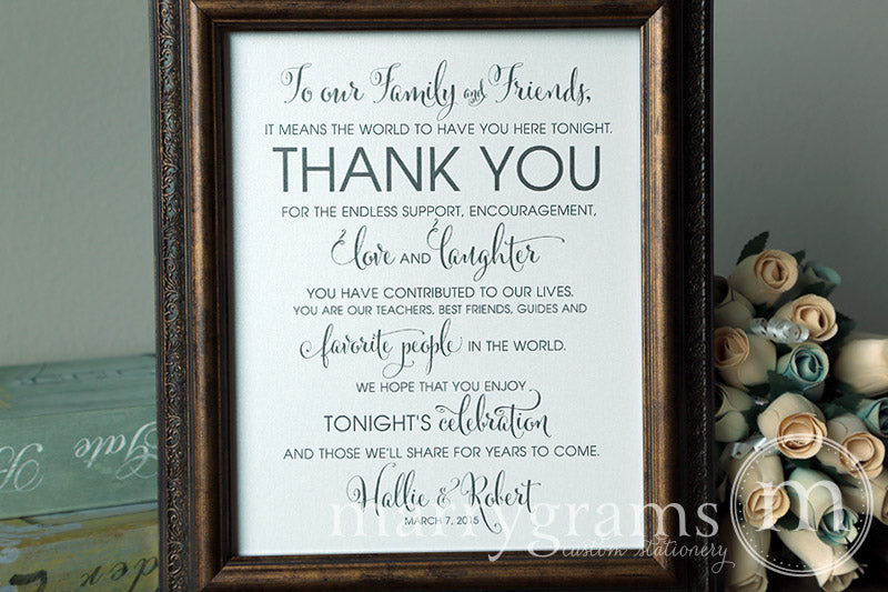 To Our Family and Friends Custom Thank You Sign Whimsical Style