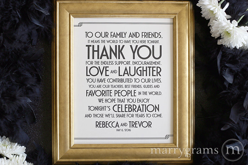 To Our Family and Friends Custom Thank You Sign Deco Style great gatsby 1920s wedding