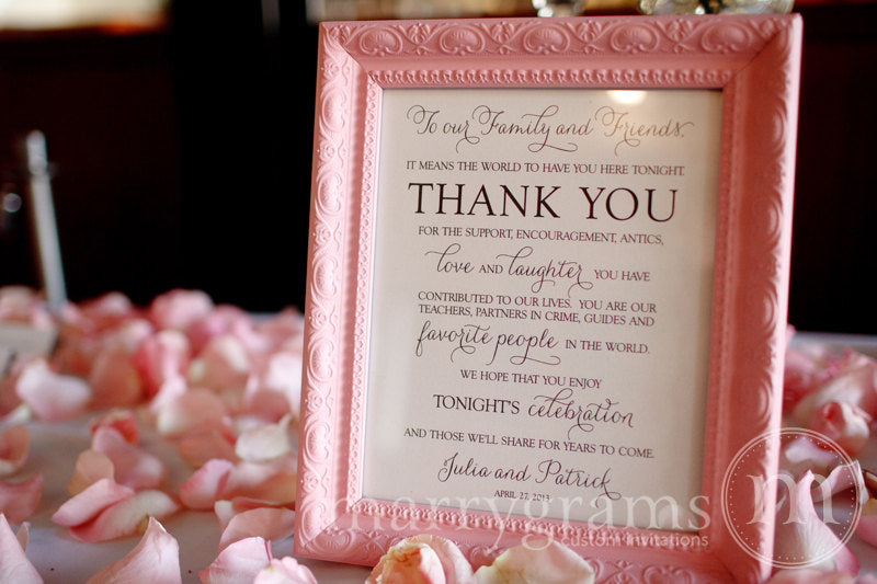 To Our Family and Friends Custom Thank You Sign Thin Style