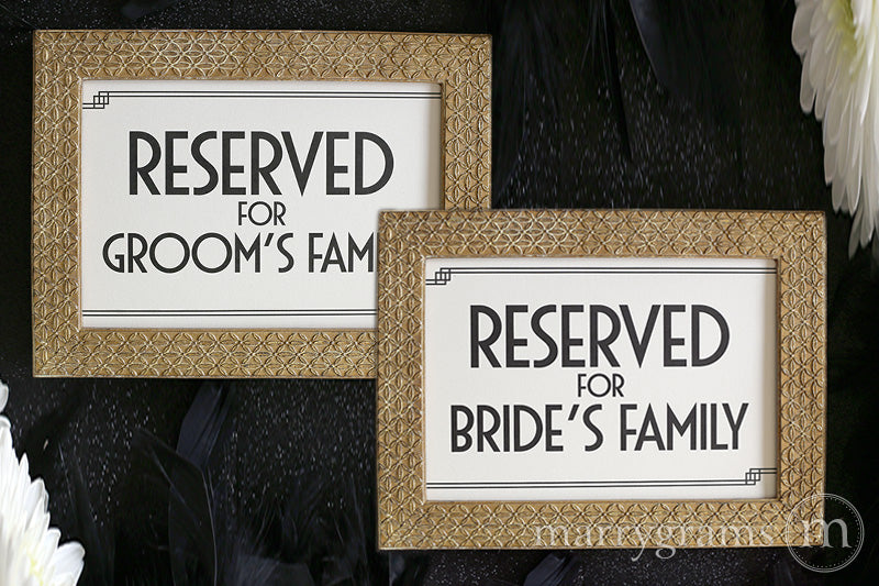 Reserved for Bride's and Groom's Family Signs Deco Style