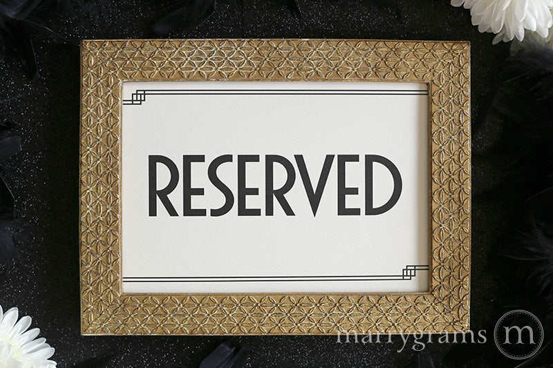 Reserved Wedding Table Seating Sign Deco Style