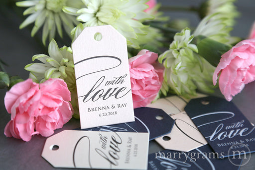 With Love calligraphy style wedding Custom Favor Tags