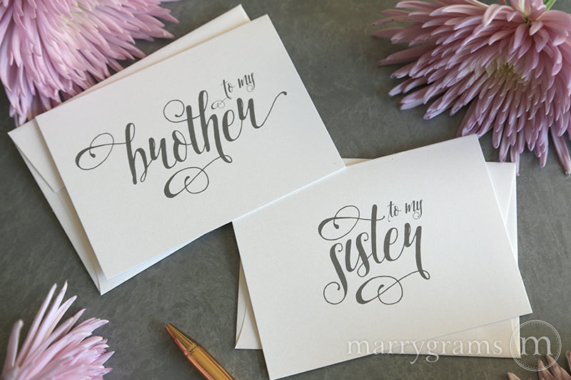 To My Family brother and sister Wedding Card Romantic Style