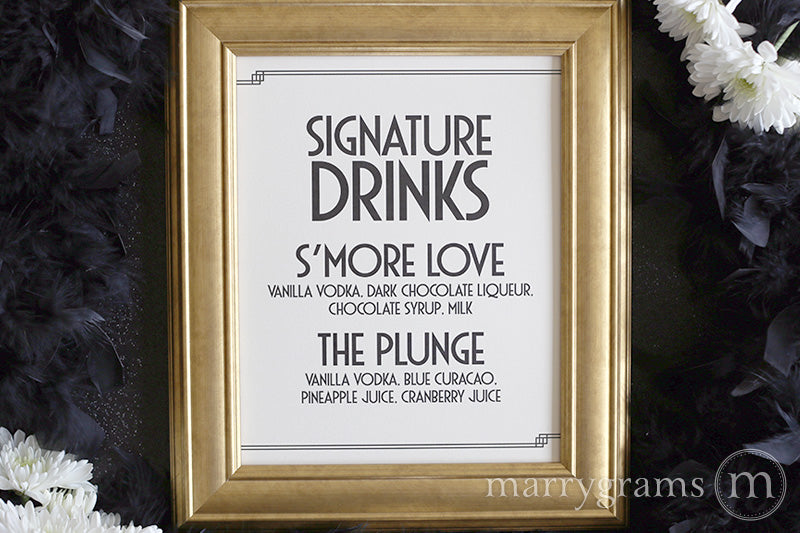 Signature Drinks Custom Wedding Bar Sign Deco Style