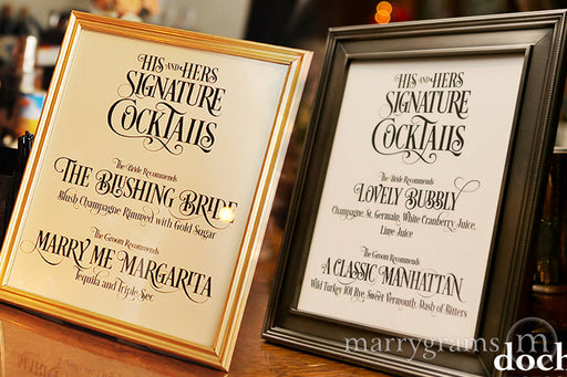 Signature Cocktails Custom Wedding Bar Sign Enchanting Style
