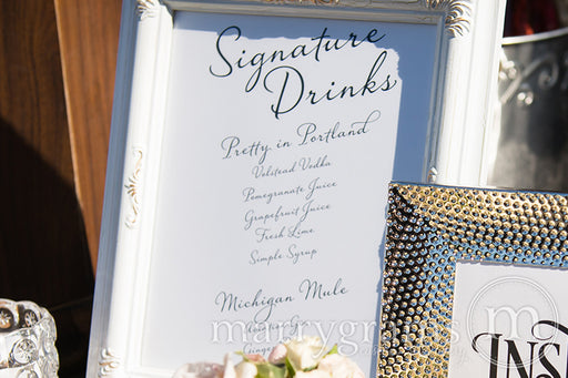 Signature Drinks Custom Wedding Bar Sign Diagonal Style