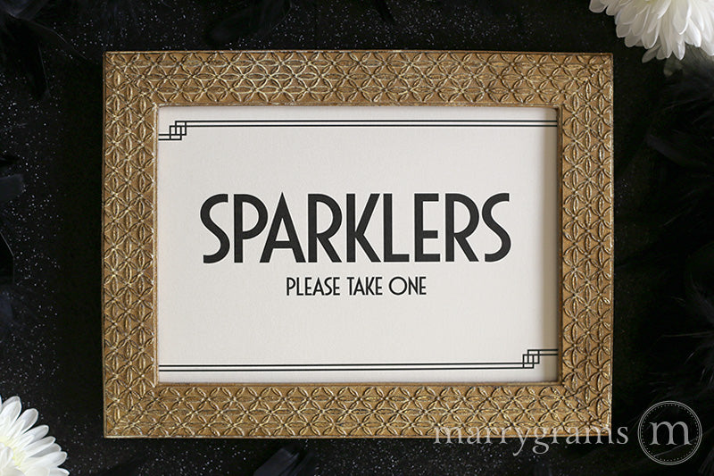 Wedding Sparklers Send Off Sign Deco Style