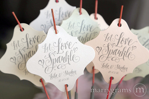 Let Love Sparkle Romantic Wedding Sparkler Tags