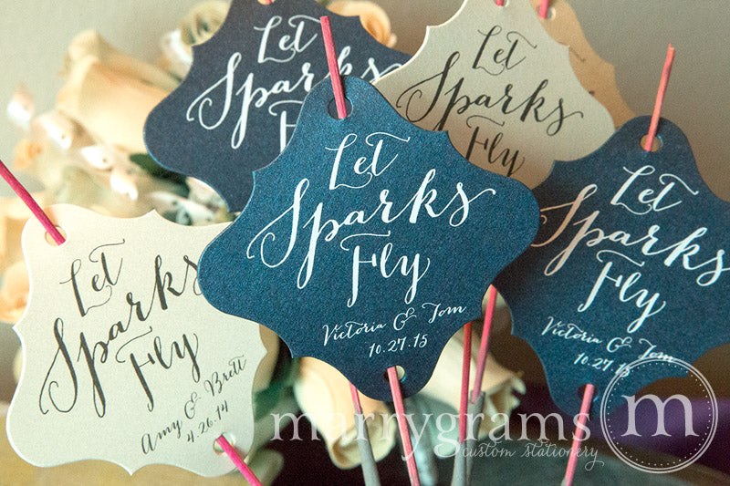 Let Sparks Fly Handwritten Style Sparkler Tags