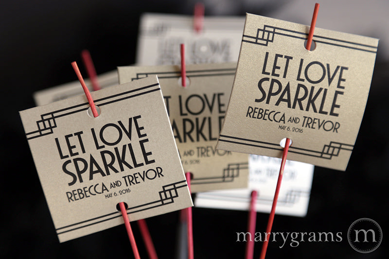Let Love Sparkle Deco Wedding Sparkler Tags