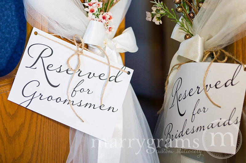 Reserved for Bridesmaids and Groomsmen Signs Diagonal Style