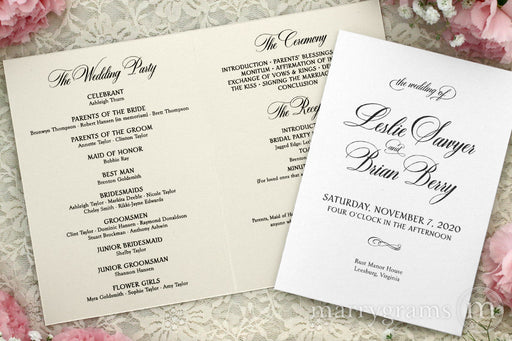 Bifold Wedding Program Calligraphy Style 5x7 formal wedding program