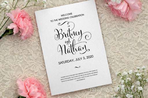Bifold Wedding Program Whimsical Style