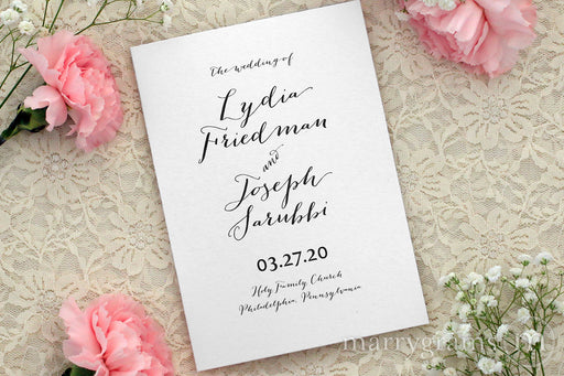Bifold Wedding Program Handwritten Style rustic wedding