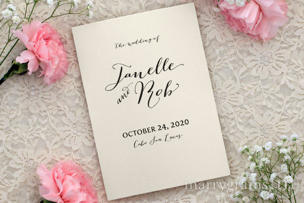 Bifold Wedding Program Handwritten Style