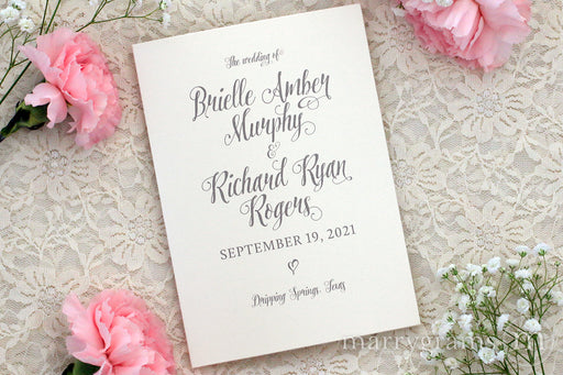 Bifold Wedding Program Romantic Style