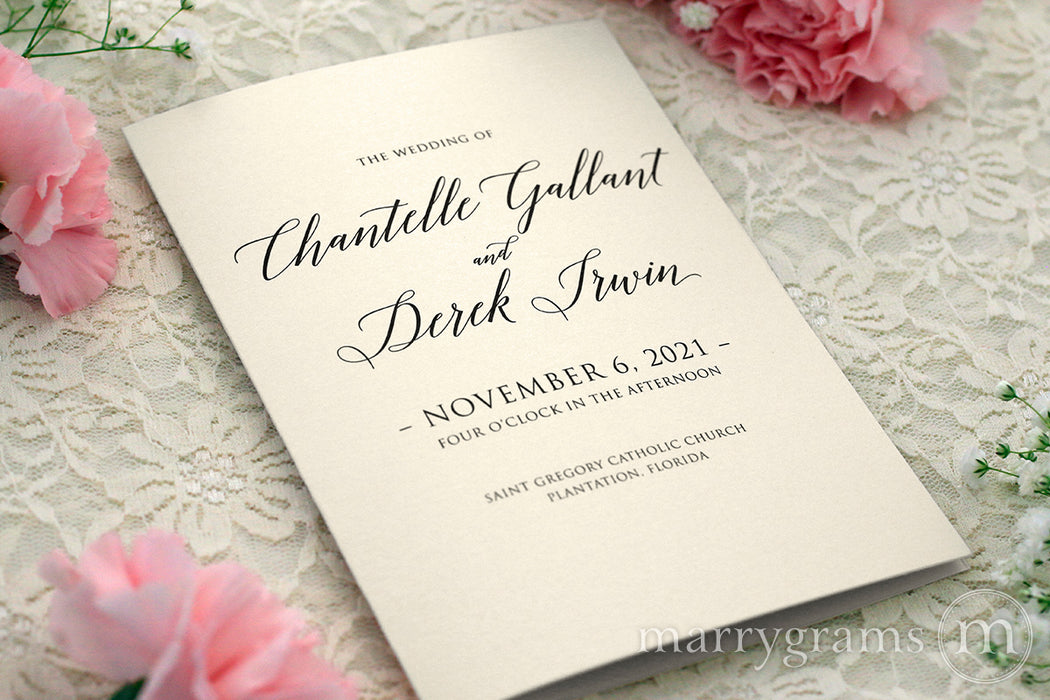 Bifold Wedding Program Delicate Style