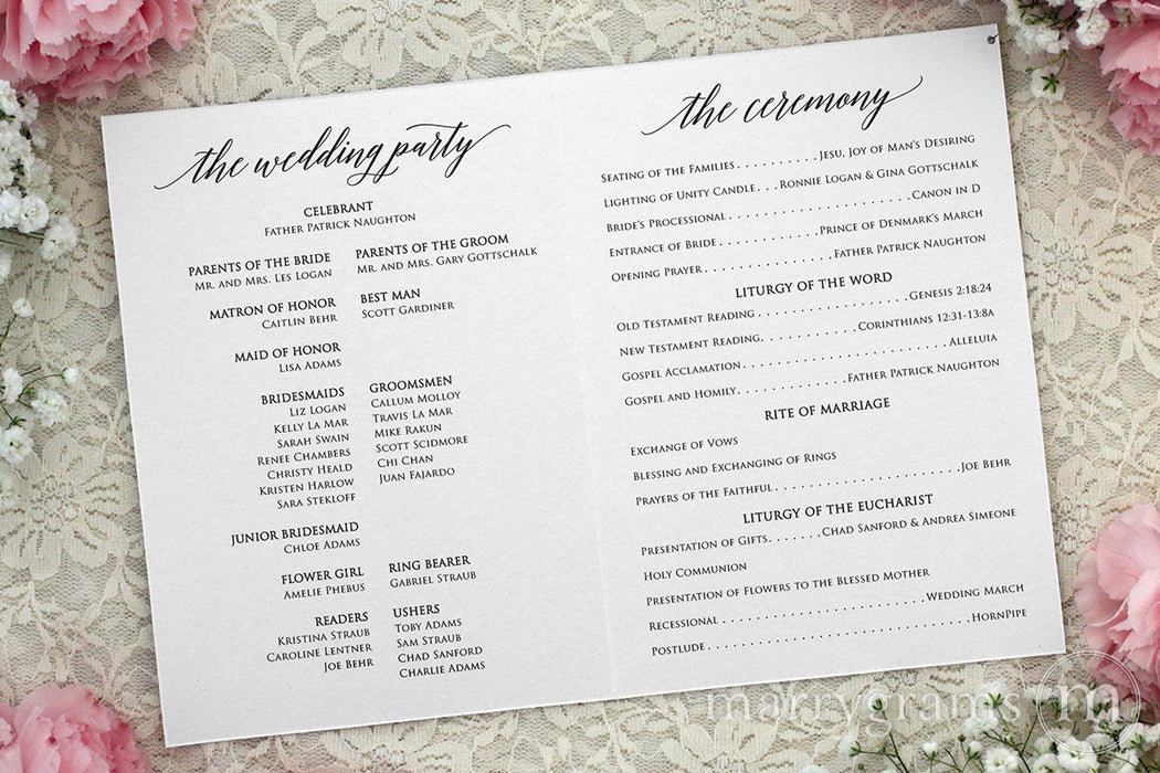 Bifold Wedding Program Delicate Style formal religious wedding ceremony program 5x7