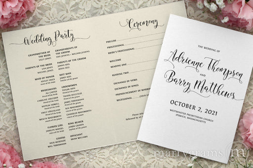 Bifold Wedding Program Darling Style modern hand lettering casual wedding