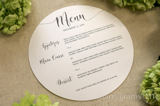 Custom round menus for wedding, rehearsal dinner, events